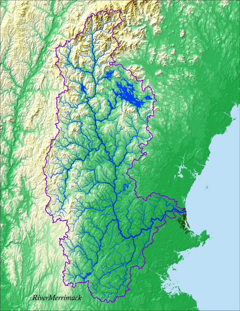 Geographic extent of the Merrimack Watershed, from the Pemigewasset Wilderness of the White Mountains of New Hampshire to the Merrimack's estuary at Plum Island. and its estuary.